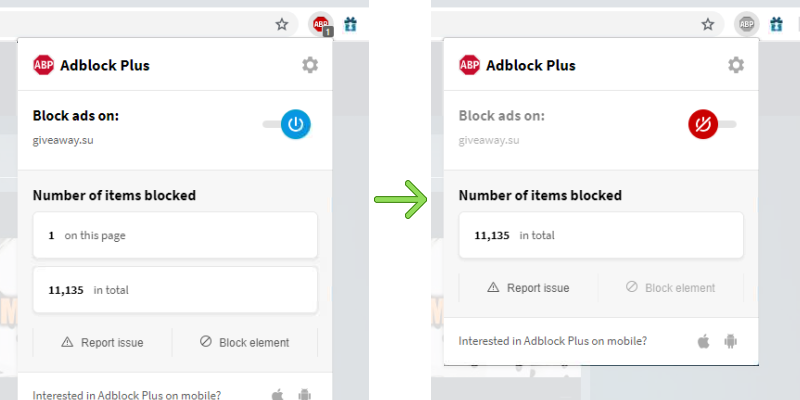 How to disable AdBlock Plus on GiveAway.su